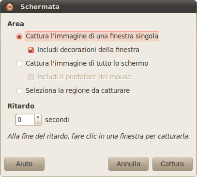 La finestra per screenshot di GIMP