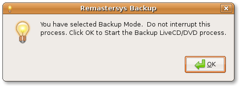Start Remastersys backup