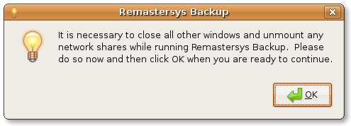 Warning remastersys backup